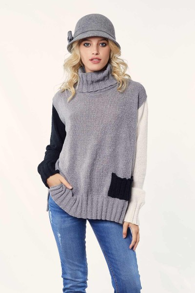 Sweater Iris Bolsillo Tricolor